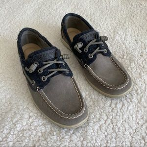 Sperry gray suede and blue plaid sneakers